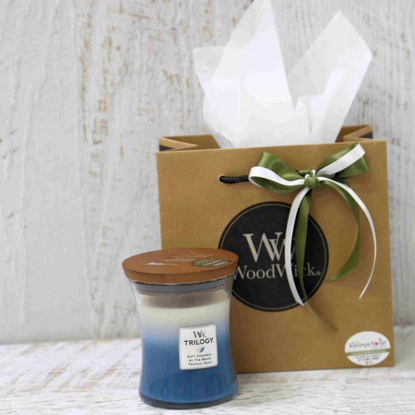 Woodwick Candle Soft Chambray, At the Beach and Tropical Oasis