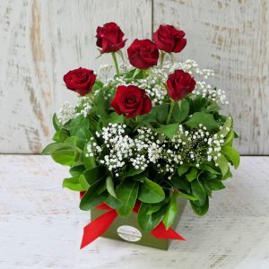 6 Red Rose Box Arrangement