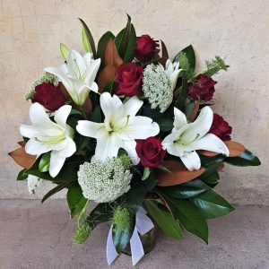 Rose and Lilly deluxe vase arrangement