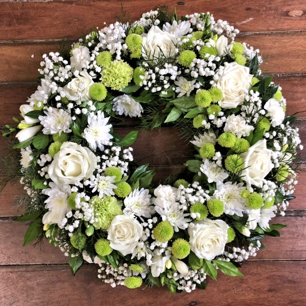White and Green Sympathy Wreath