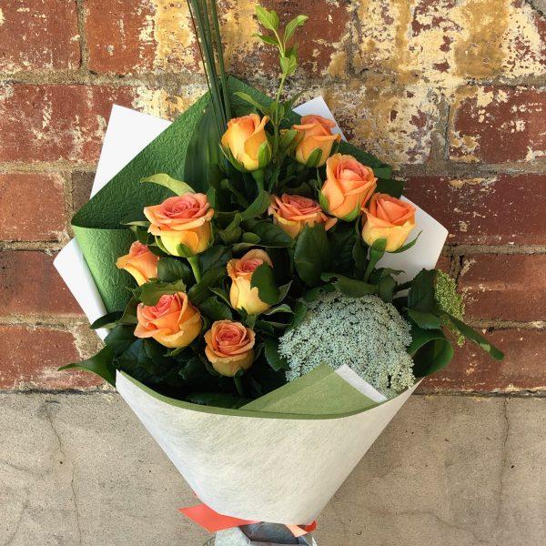 10 Orange Roses BQ
