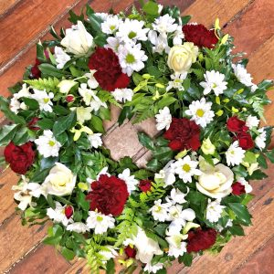 Burgundy and White Large Wreath